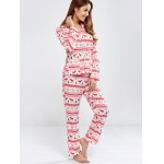 Deer Print Christmas Pajamas Set deal