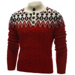 cheap Zigzag Pattern Button Up Cable Knit Sweater