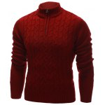 cheap Half Zip Up Cable Knit Pullover Sweater