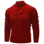 cheap Rib Hem Cable Knit Pullover Sweater