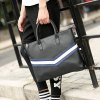 PU Leather Striped Pattern Colour Spliced Briefcase deal