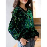 cheap Sequins Pullover Sweatshirt