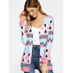 cheap Open Front Geometric Print Coat