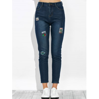 Patched Pencil Jeans