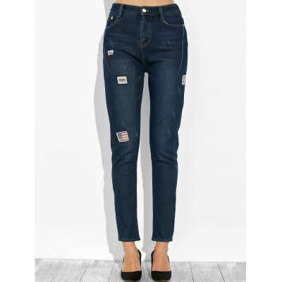 High Waist Patched Pencil Jeans