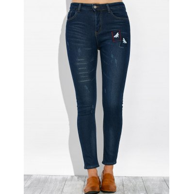 Dragonfly Embroidery Pencil Jeans