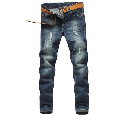 Slim Fit Zip Fly Low Waisted Distressed Jeans
