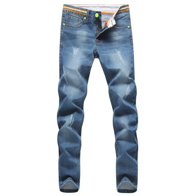 Tapered Fit Striped Waist Distressed Jeans