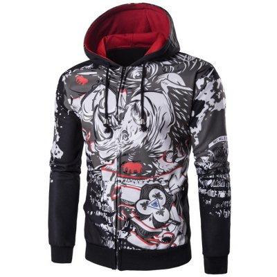 Hooded Abstract Print Zip Up Hoodie