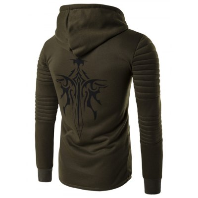 Hooded Longline Graphic Print Zip Up Rib Design Hoodie