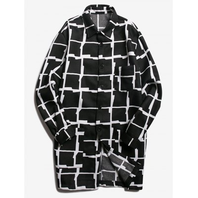Button Up Longline Grid Coat