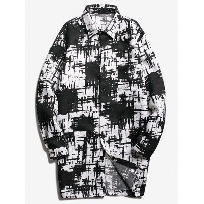 Contrast Print Patch Pocket Longline Coat