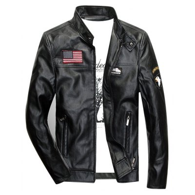 Patch Zippered Faux Leather Jacket