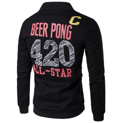 Stand Collar Double Pockets Graphic Print Jacket