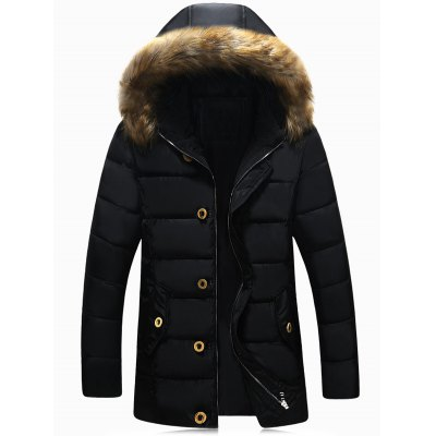 Zip Up Faux Fur Hooded Padded Jacket