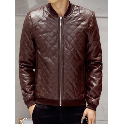 Zip Up Leather Quilted Jacket