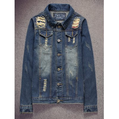 Scratched Ripped Denim Jacket