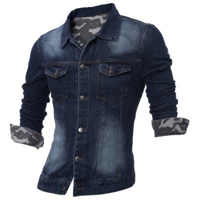 Plus Size Turndown Collar Camouflage Turnup Denim Jacket