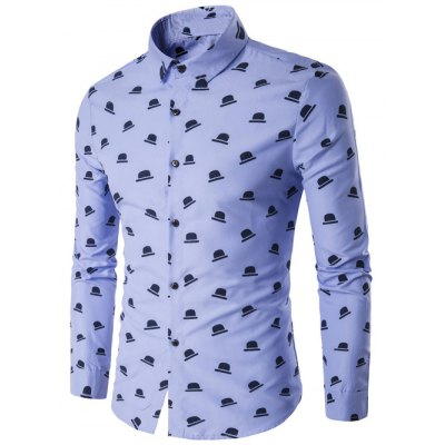 Turndown Collar Hat Print Long Sleeve Shirt