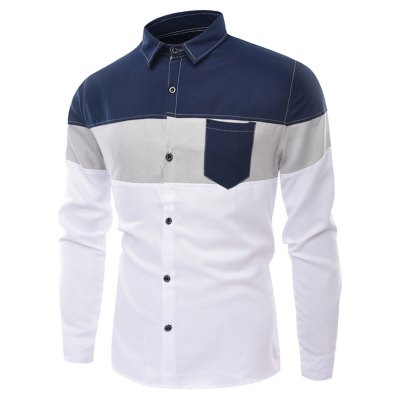 Long Sleeve Color Block Panel Pocket Shirt