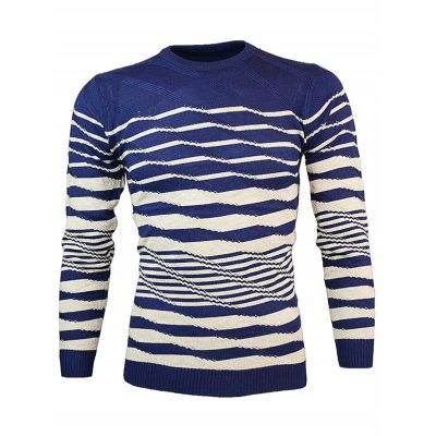 Crew Neck Wave Stripe Pullover Knitwear