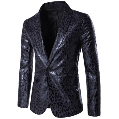 Lapel PU Leather Leopard One Button Blazer