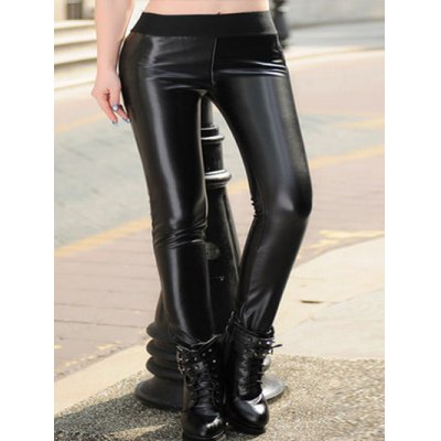 Plus Size Elastic Waist Faux Leather Pants