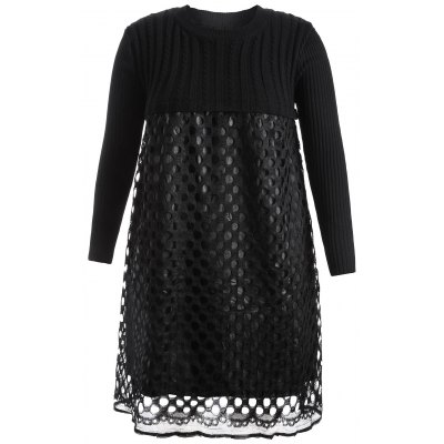 Plus Size Hollow Out Lace Splicing Knit Dress