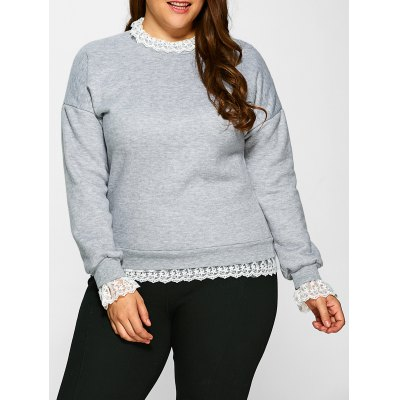 Lace Insert Fleece Sweatshirt