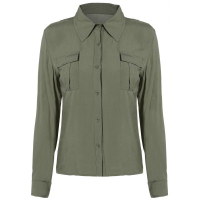 Button Up Epaulet Shirt with Pocket