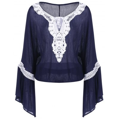 Bell Sleeve Lace Insert Blouse