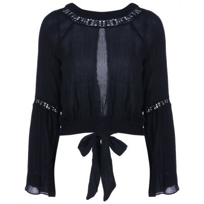 Cut Out Tie Blouse