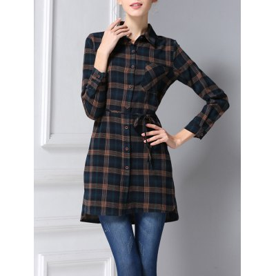 Belted Long Sleeve Plaid Shirt