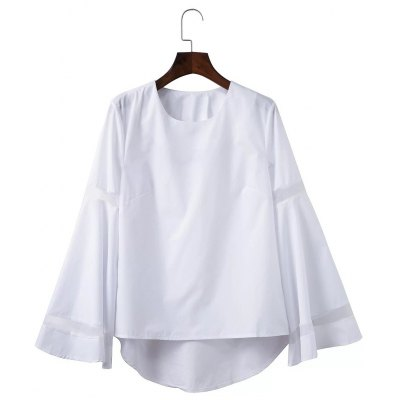 Mesh Spliced High Low Flare Sleeve Blouse