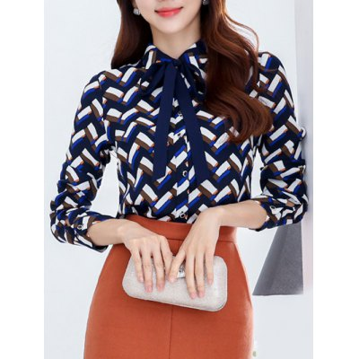 Pussy Bow Fleece Wave Striped Blouse