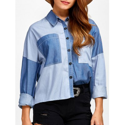 Color Block Pocket Patched Denim Shirt