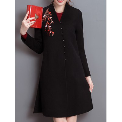 Embroidery Fit and Flare Woolen Blend Coat