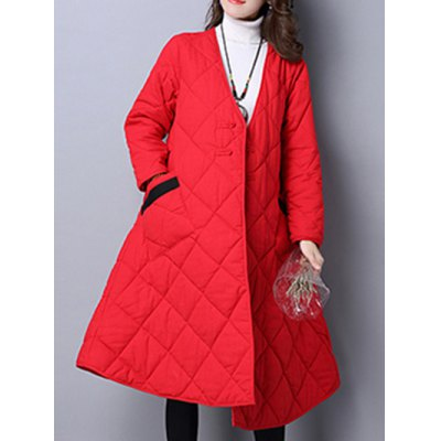 V Neck Loose Puffer Jacket