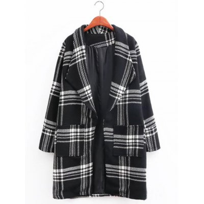 Plaid Long Wool Coat