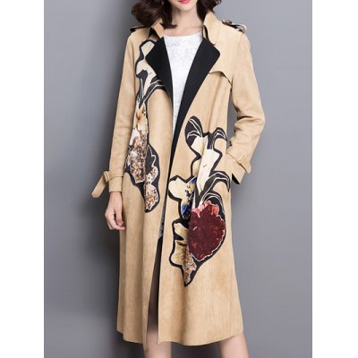 Sueded Patched Patterned Trench Coat