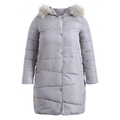 Faux Fur Hooded Fuzzy Padded Coat