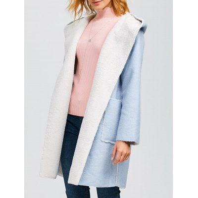 Hooded Faux Shearling Lined Coat