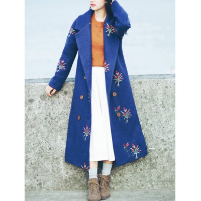 Lapel Floral Embroidery Woolen Blend Coat