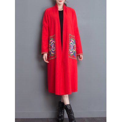 Embroidery Duster Long Coat