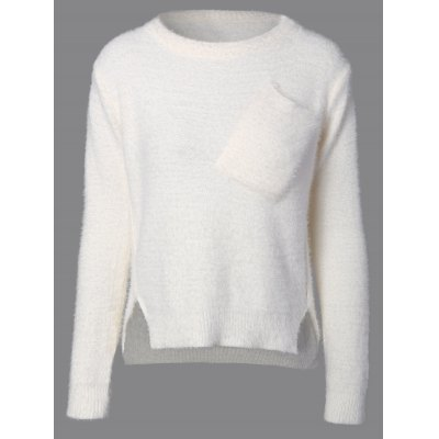 Fuzzy High Low Sweater with Pocket