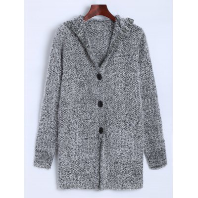 Hooded Buttoned Fuzzy Knit Cardigan