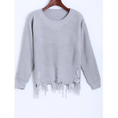 Distressed Fringed Chunky Sweater