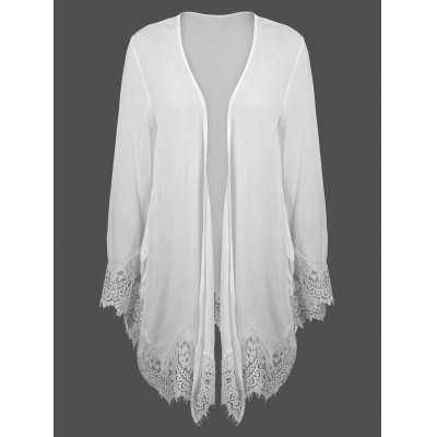 Lace Panel Duster Cardigan
