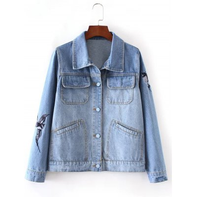 Bleach Wash Bird Embroidery Denim Jacket