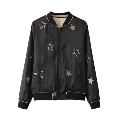 Slim Star Embroidered Convertible Bomber Jacket